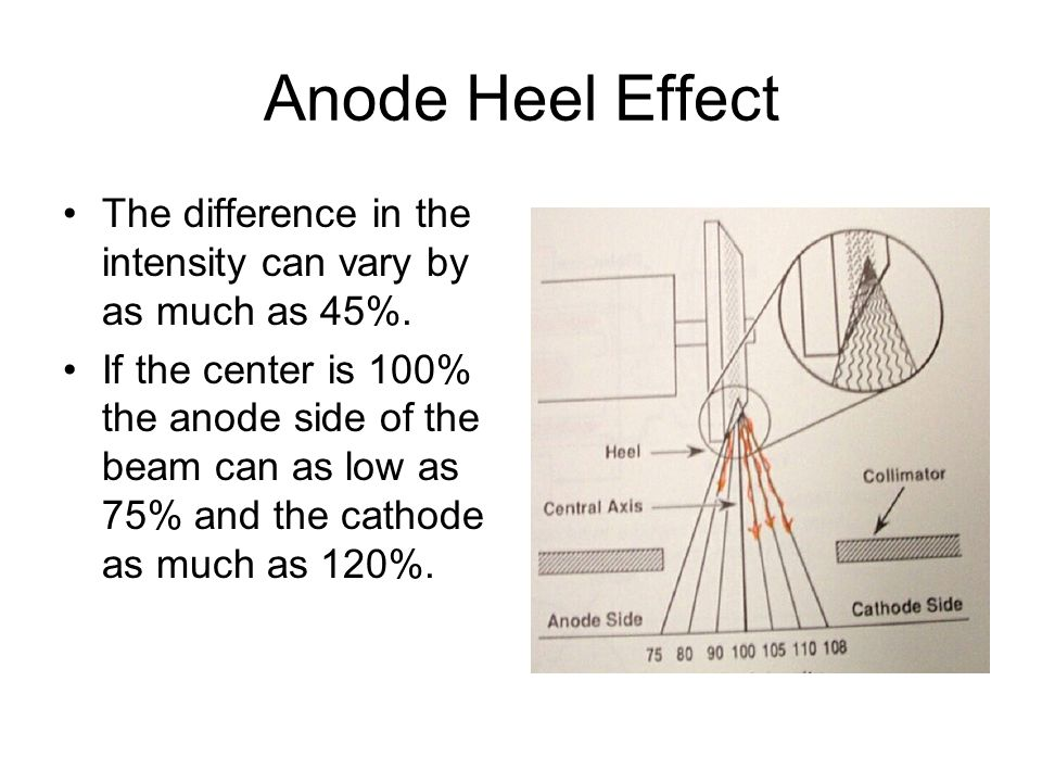 Anode Heel Effect The difference in the intensity can vary by as much as 45%.