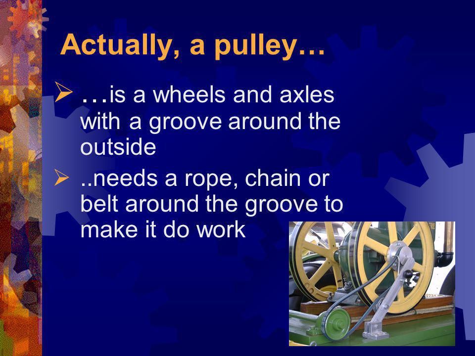 …is a wheels and axles with a groove around the outside