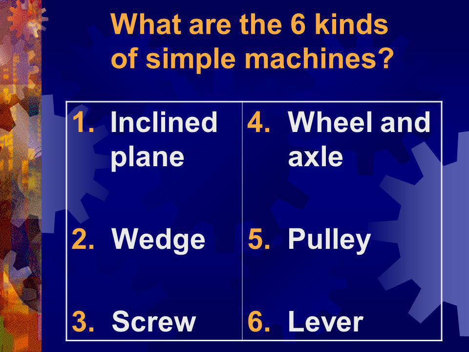 What are the 6 kinds of simple machines