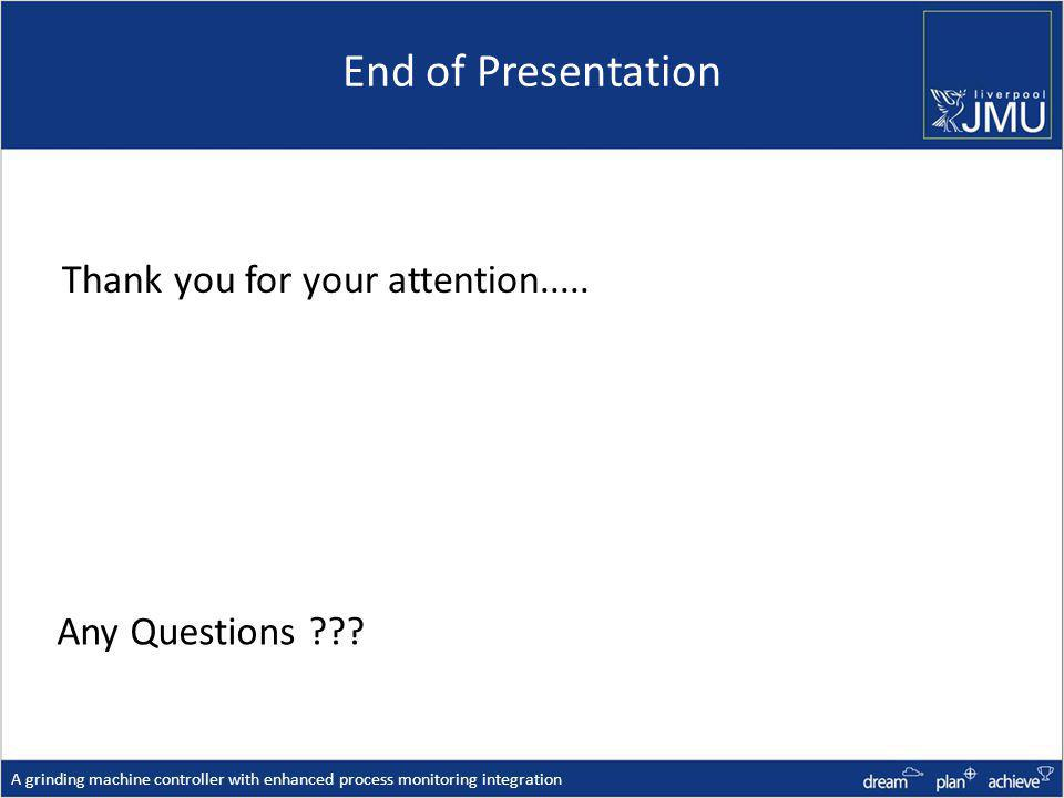 End of Presentation Thank you for your attention.....