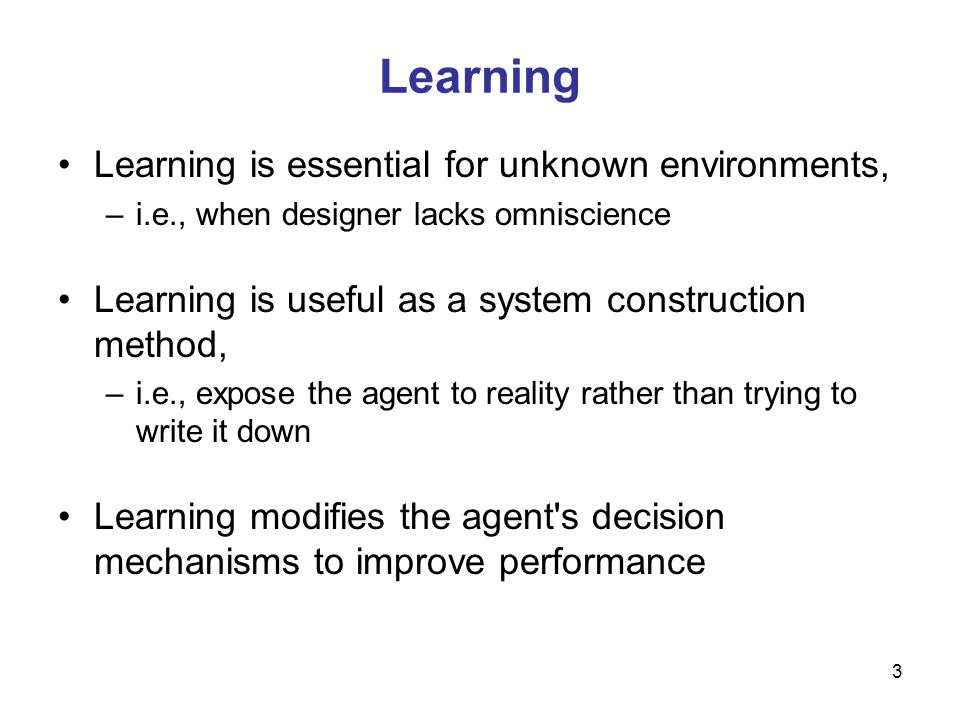 Learning Learning is essential for unknown environments,