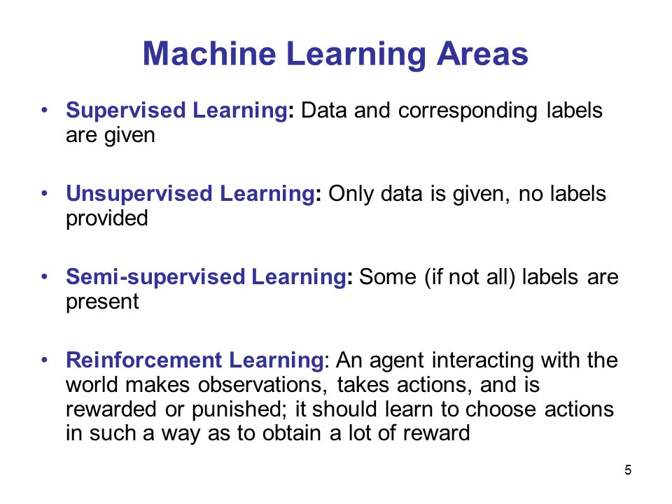 Machine Learning Areas