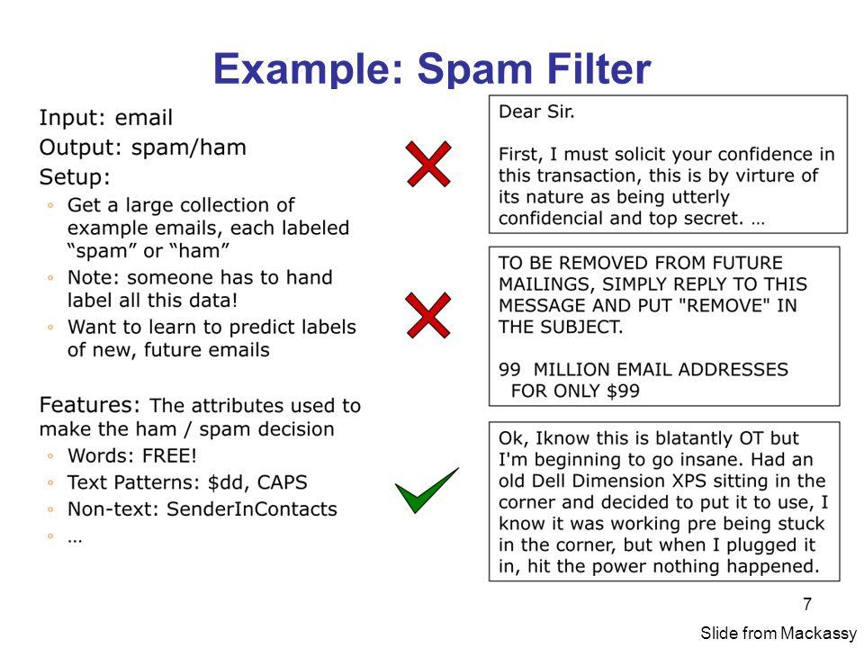 Example: Spam Filter Slide from Mackassy