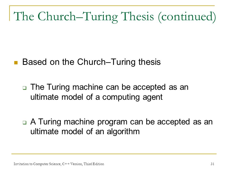 church turing thesis quantum Quantum computation and extended church-turing thesis 01 extended church-turing thesis the extended church-turing thesis is a foundational principle in computer science.