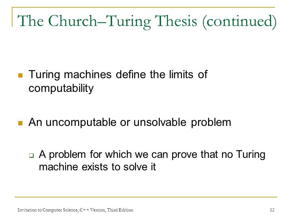 The Church–Turing Thesis (continued)