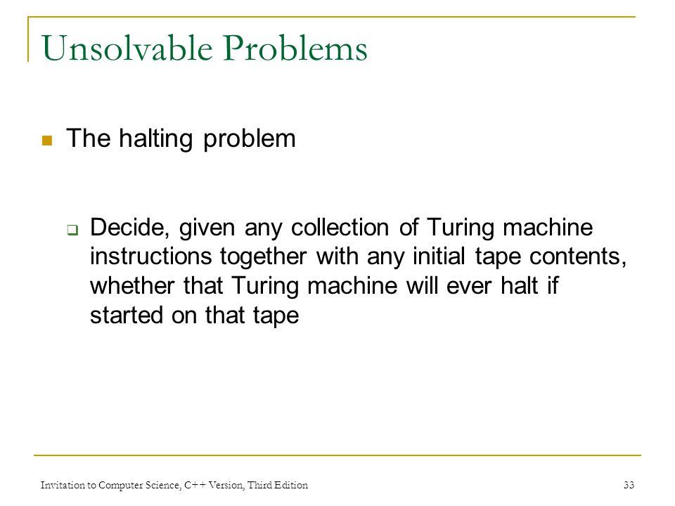Unsolvable Problems The halting problem
