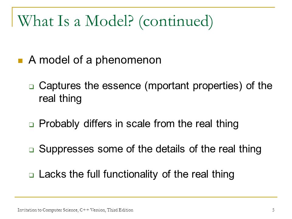 What Is a Model (continued)