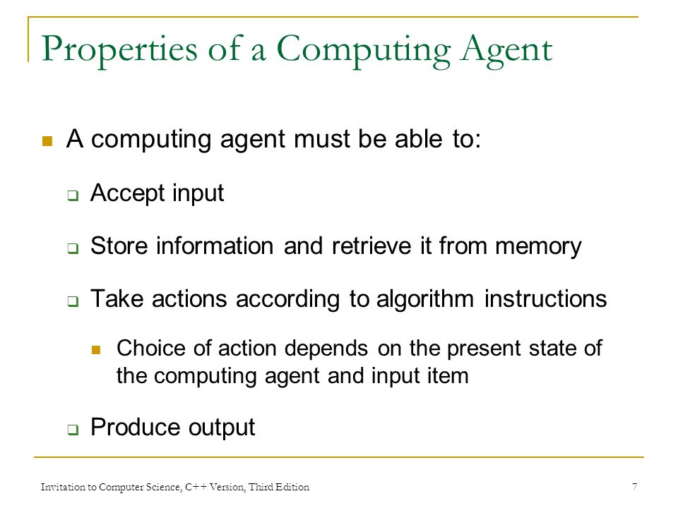 Properties of a Computing Agent