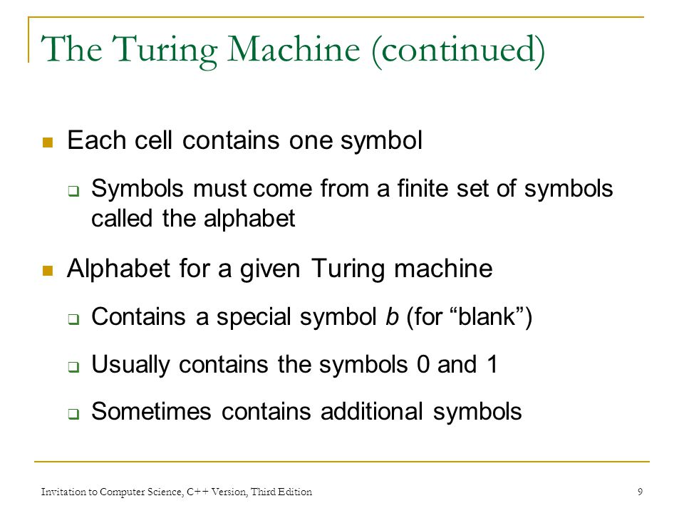 The Turing Machine (continued)