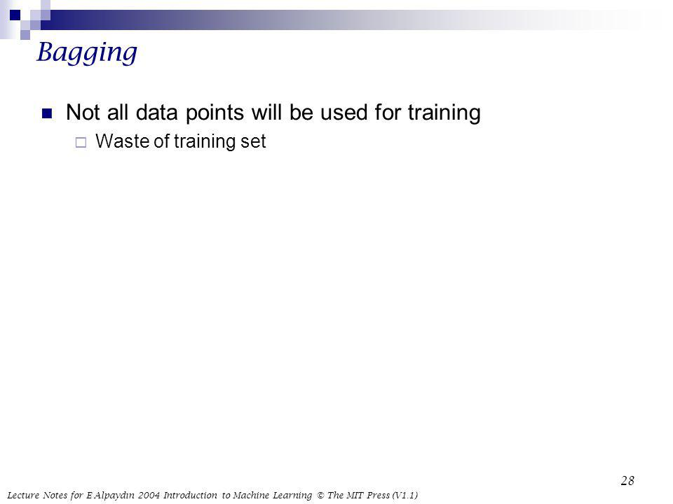 Bagging Not all data points will be used for training