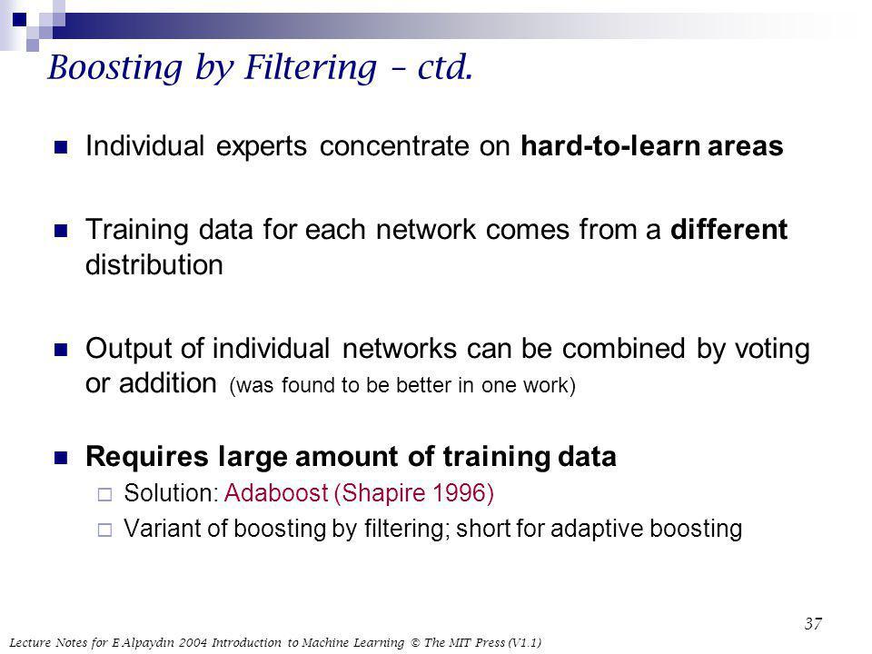 Boosting by Filtering – ctd.