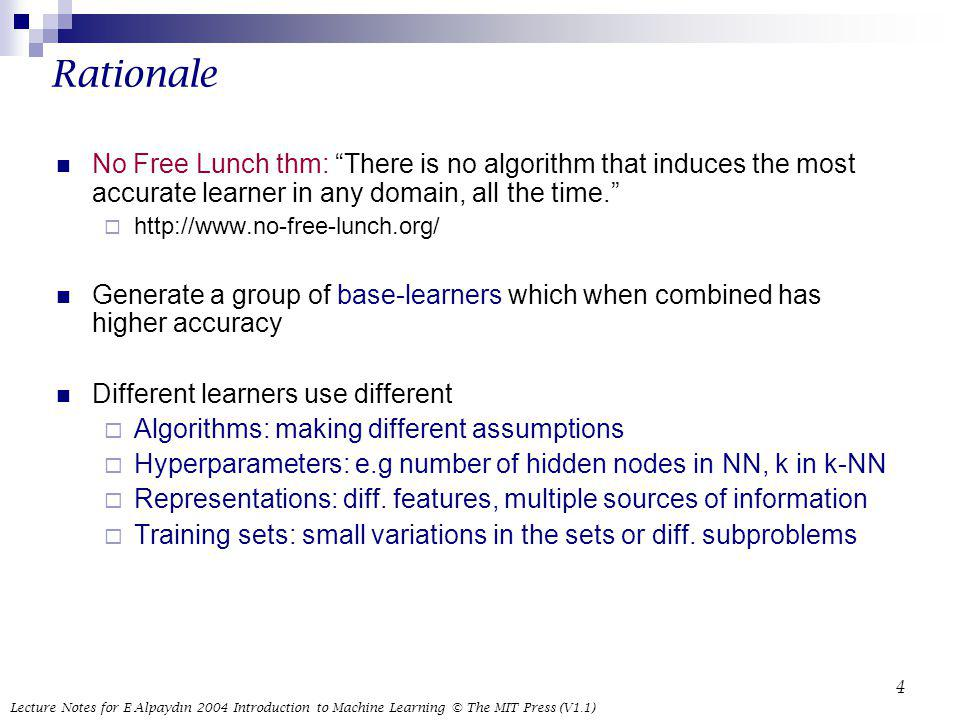 Rationale No Free Lunch thm: There is no algorithm that induces the most accurate learner in any domain, all the time.