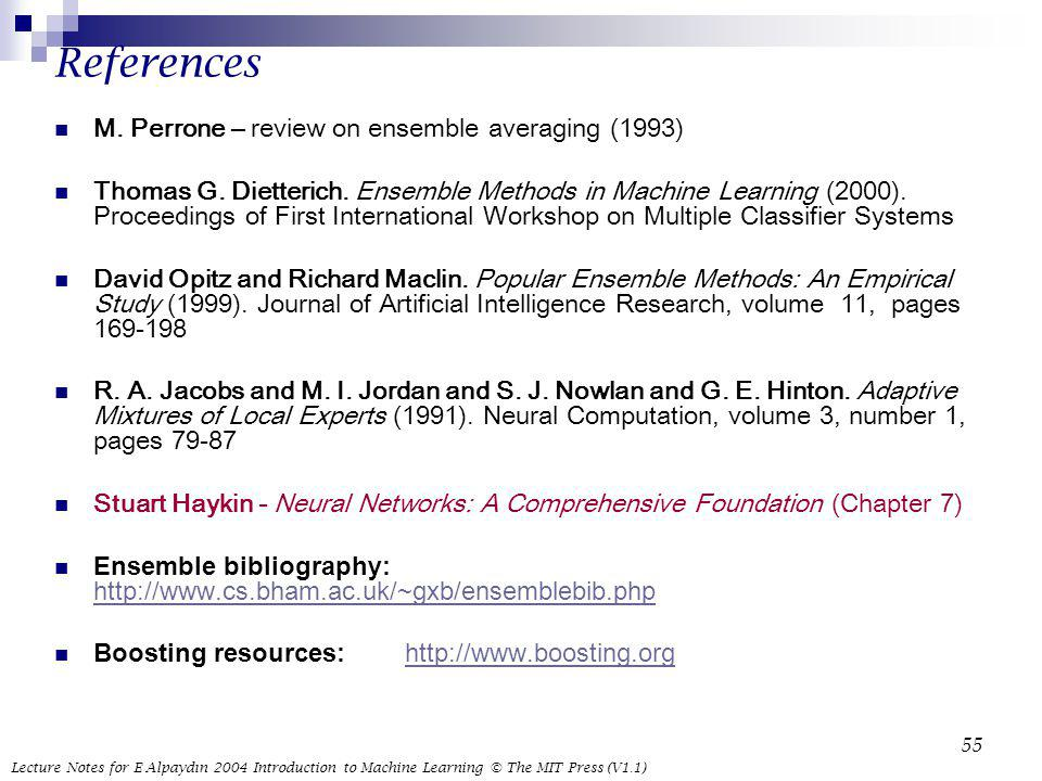 References M. Perrone – review on ensemble averaging (1993)