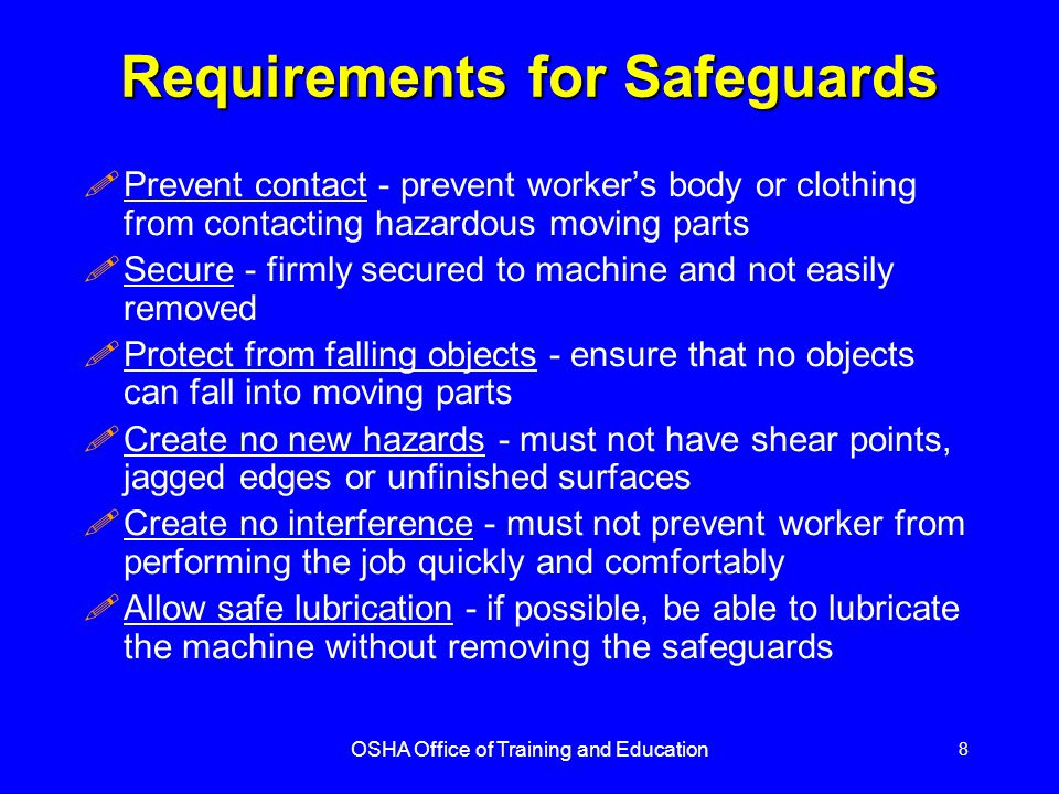 Requirements for Safeguards
