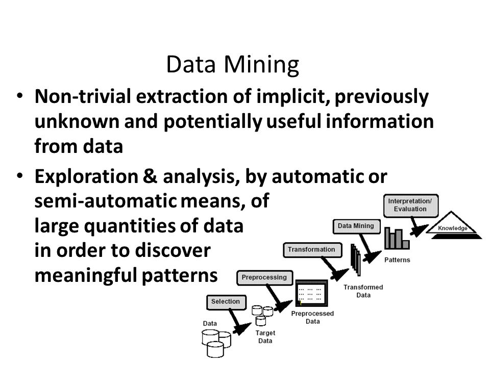 Data Mining Non-trivial extraction of implicit, previously unknown and potentially useful information from data.