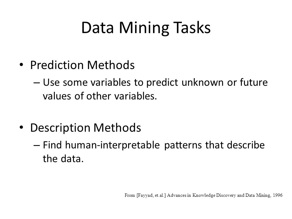 Data Mining Tasks Prediction Methods Description Methods