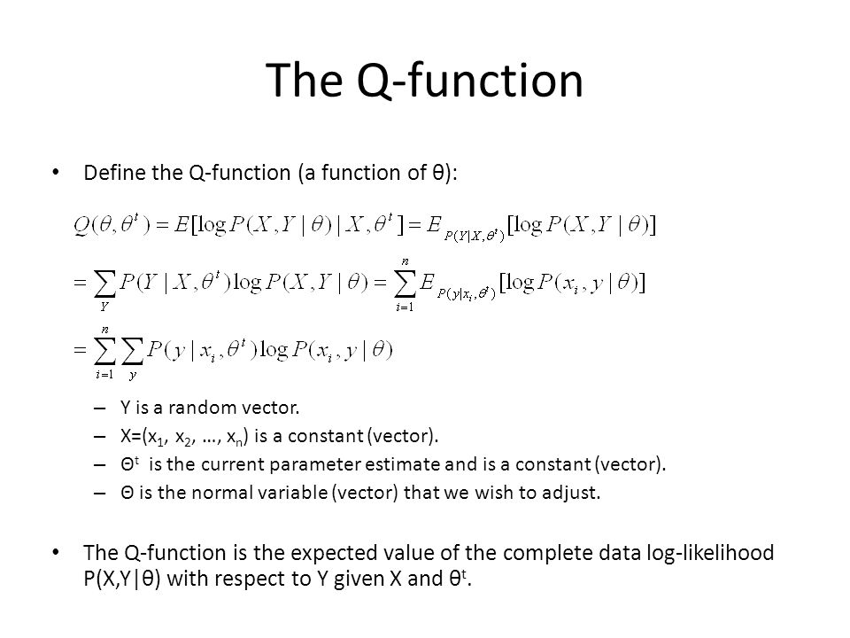 The Q-function Define the Q-function (a function of θ):