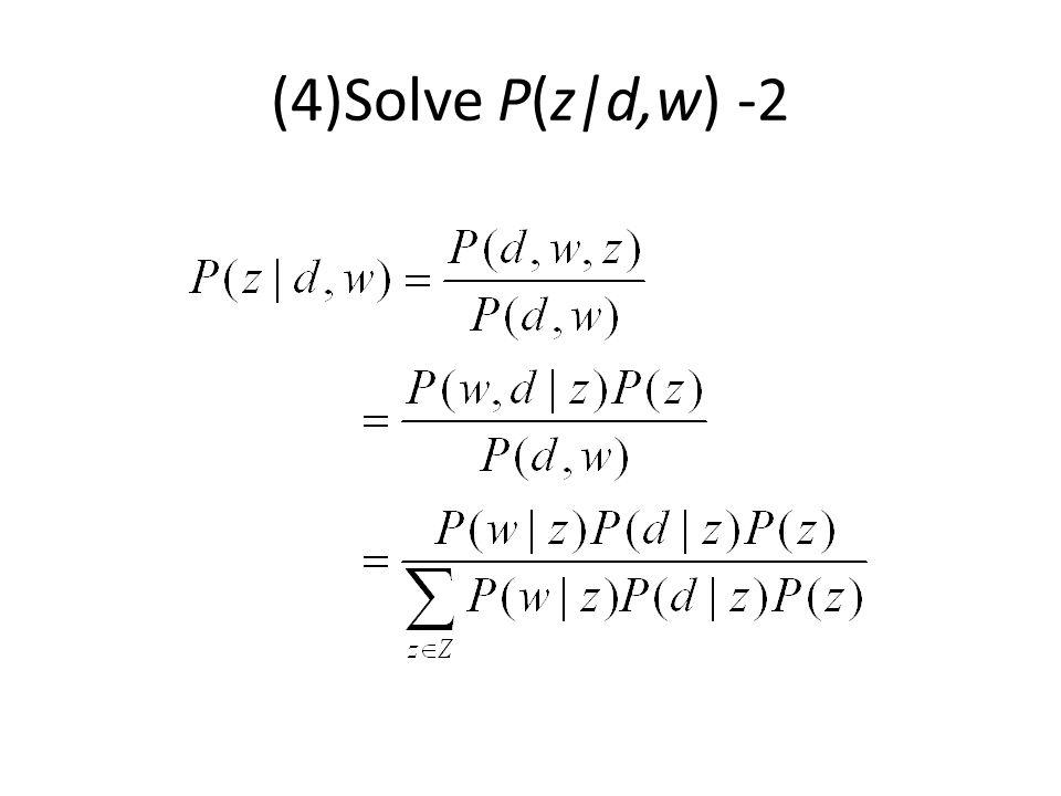 (4)Solve P(z|d,w) -2