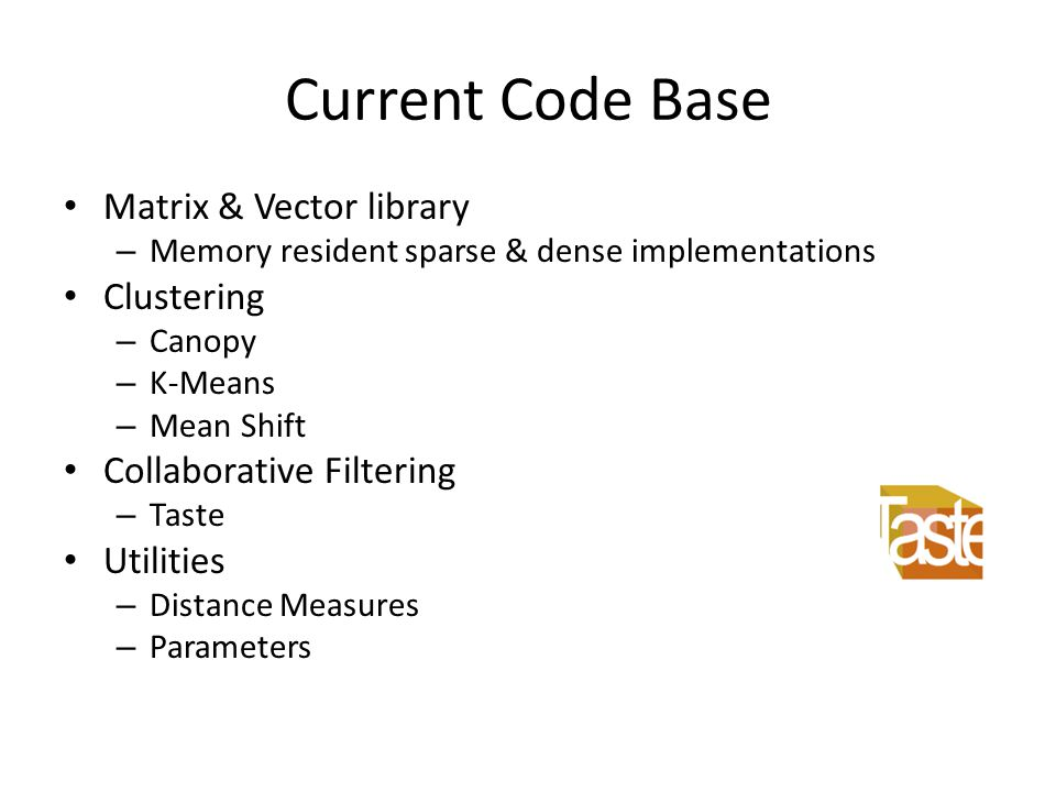 Current Code Base Matrix & Vector library Clustering
