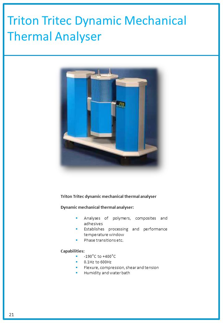 Triton Tritec Dynamic Mechanical Thermal Analyser