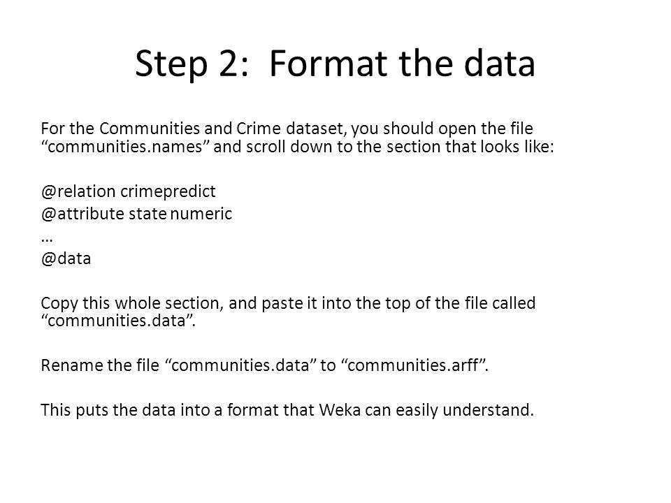 Step 2: Format the data