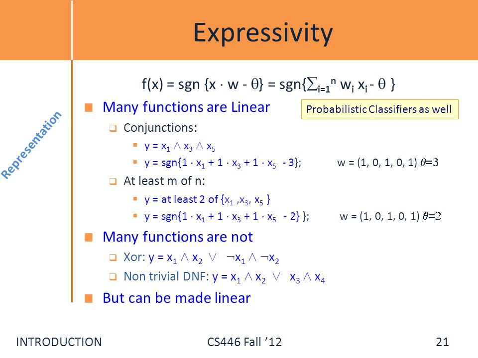 f(x) = sgn {x ¢ w - } = sgn{i=1n wi xi -  }