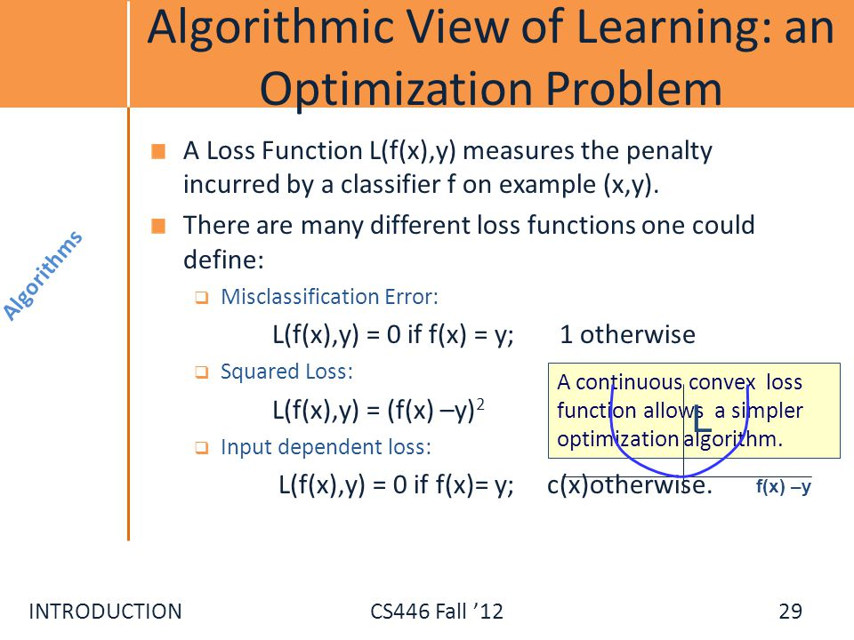 Algorithmic View of Learning: an Optimization Problem