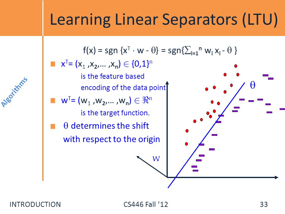 Learning Linear Separators (LTU)