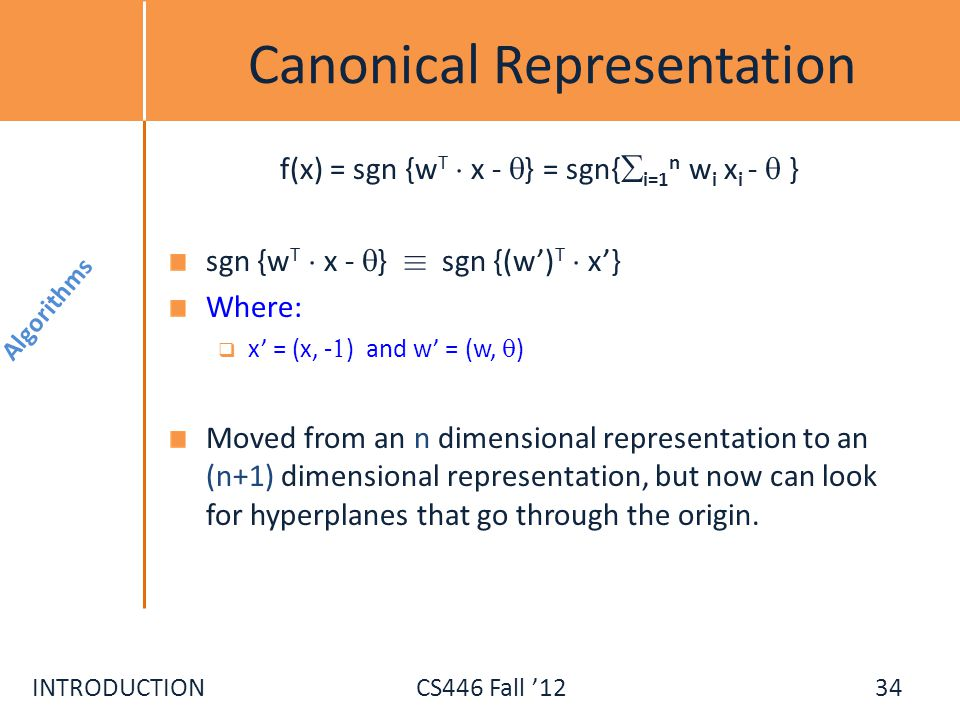 Canonical Representation