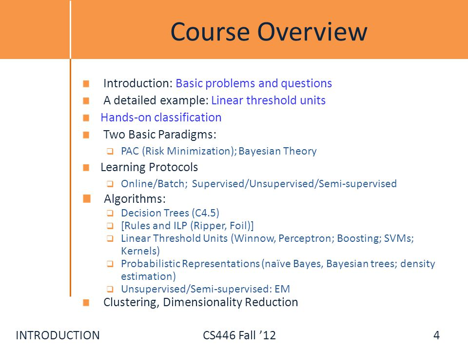 Course Overview Algorithms: Introduction: Basic problems and questions