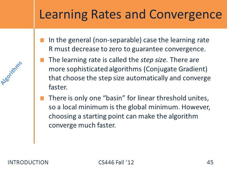 Learning Rates and Convergence