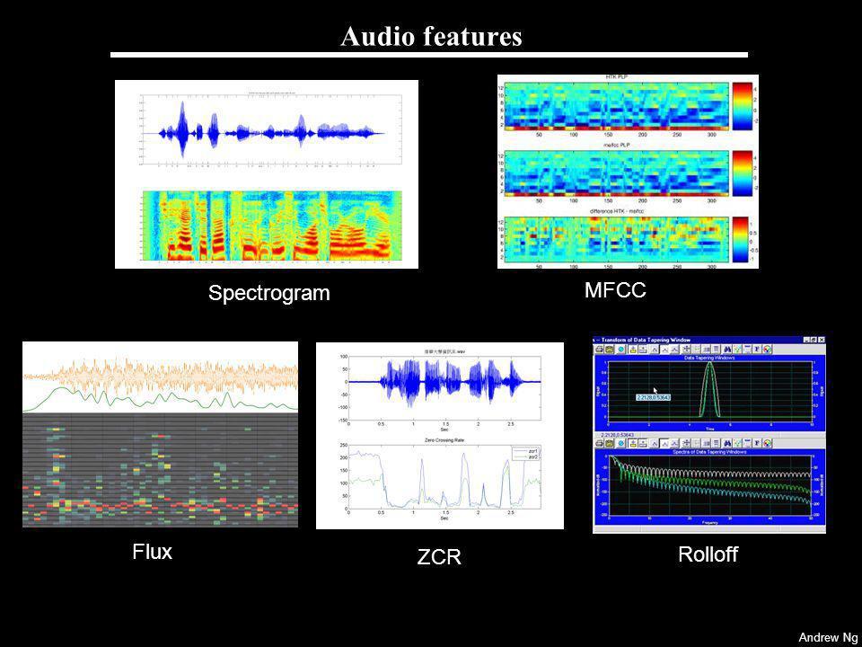 Audio features Spectrogram MFCC Flux ZCR Rolloff