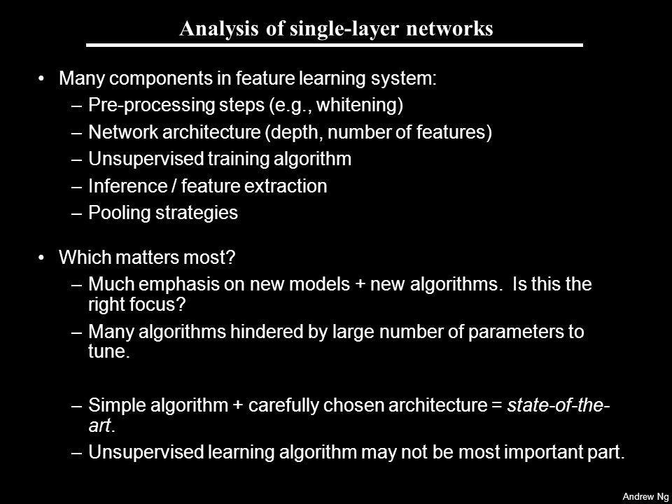 Analysis of single-layer networks
