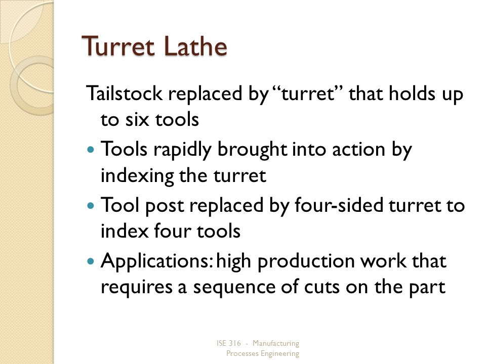 Turret Lathe Tailstock replaced by turret that holds up to six tools