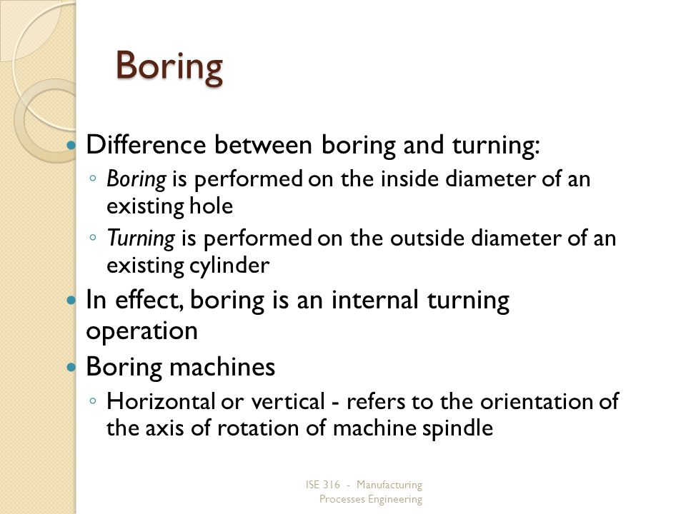 Boring Difference between boring and turning: