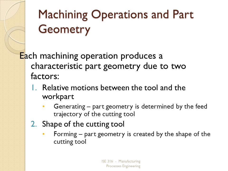 Machining Operations and Part Geometry