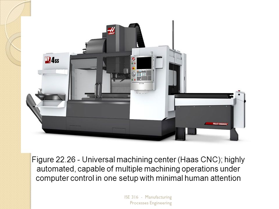 Figure 22.26 ‑ Universal machining center (Haas CNC); highly automated, capable of multiple machining operations under computer control in one setup with minimal human attention