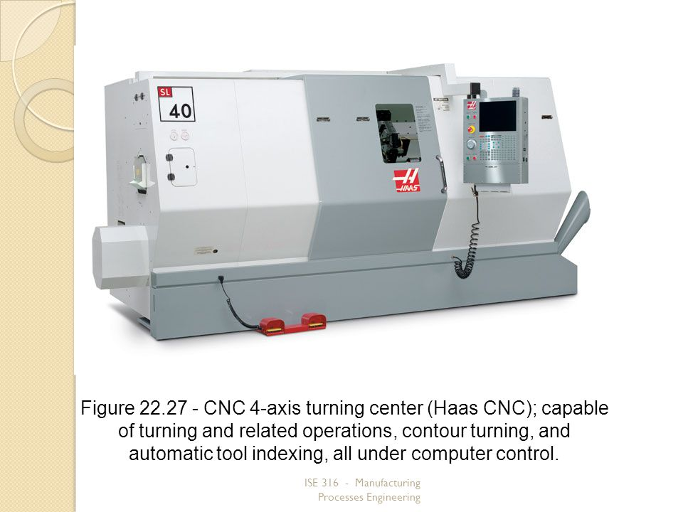 Figure 22.27 ‑ CNC 4‑axis turning center (Haas CNC); capable of turning and related operations, contour turning, and automatic tool indexing, all under computer control.