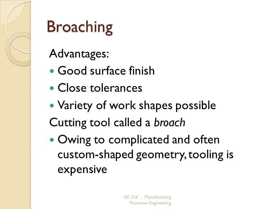 Broaching Advantages: Good surface finish Close tolerances
