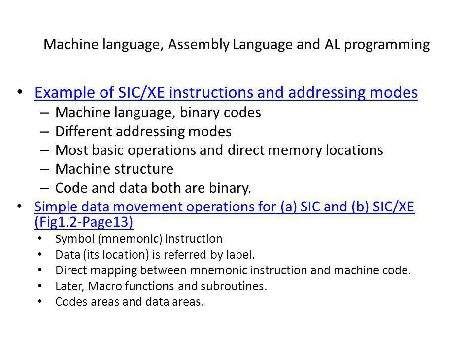 Machine language, Assembly Language and AL programming