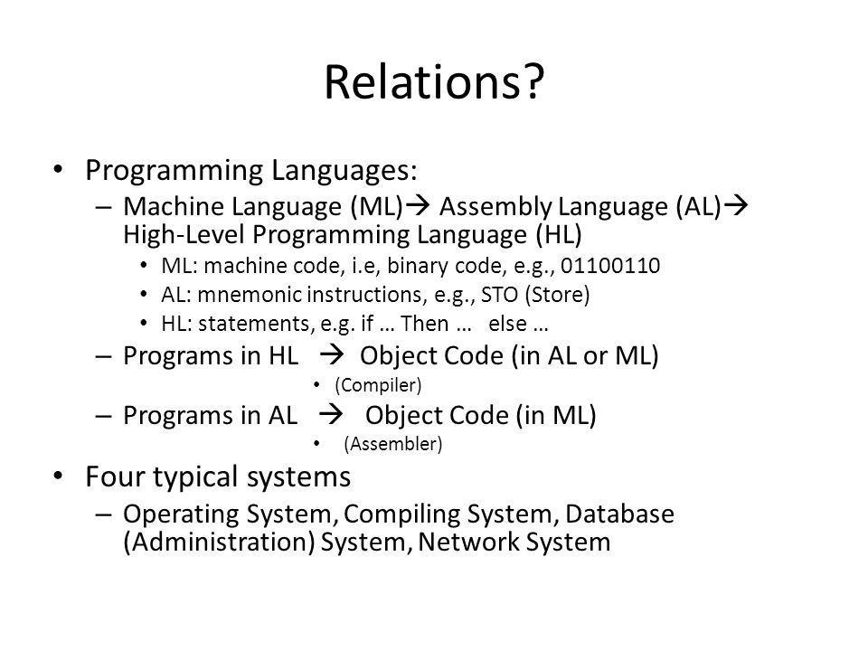 Relations Programming Languages: Four typical systems