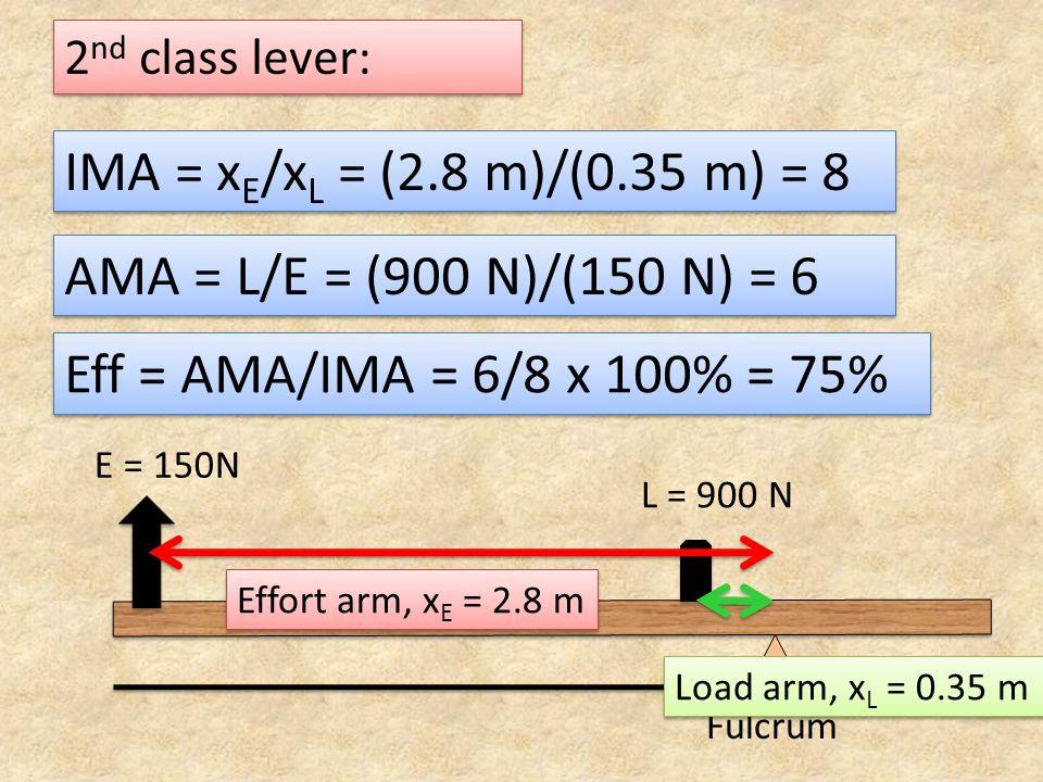 IMA = xE/xL = (2.8 m)/(0.35 m) = 8 AMA = L/E = (900 N)/(150 N) = 6