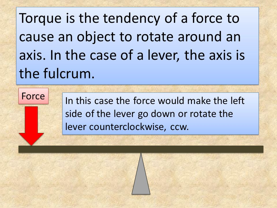 Torque is the tendency of a force to cause an object to rotate around an axis. In the case of a lever, the axis is the fulcrum.