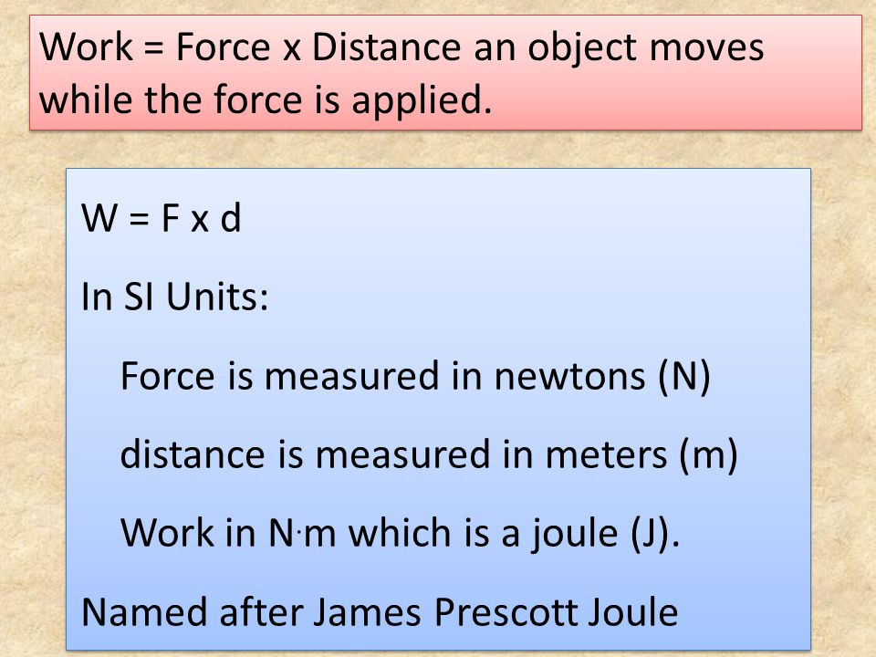 Work = Force x Distance an object moves while the force is applied.