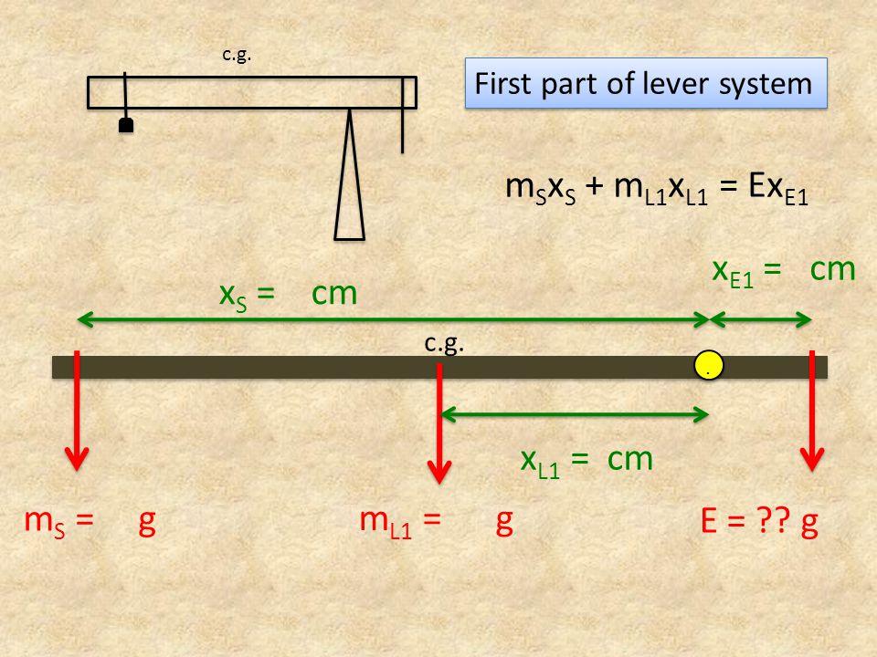 mSxS + mL1xL1 = ExE1 xS = cm xE1 = cm mL1 = g mS = g E = g xL1 = cm