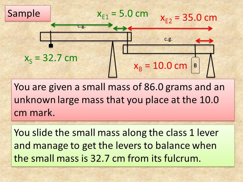 Sample xE1 = 5.0 cm xE2 = 35.0 cm xS = 32.7 cm xB = 10.0 cm