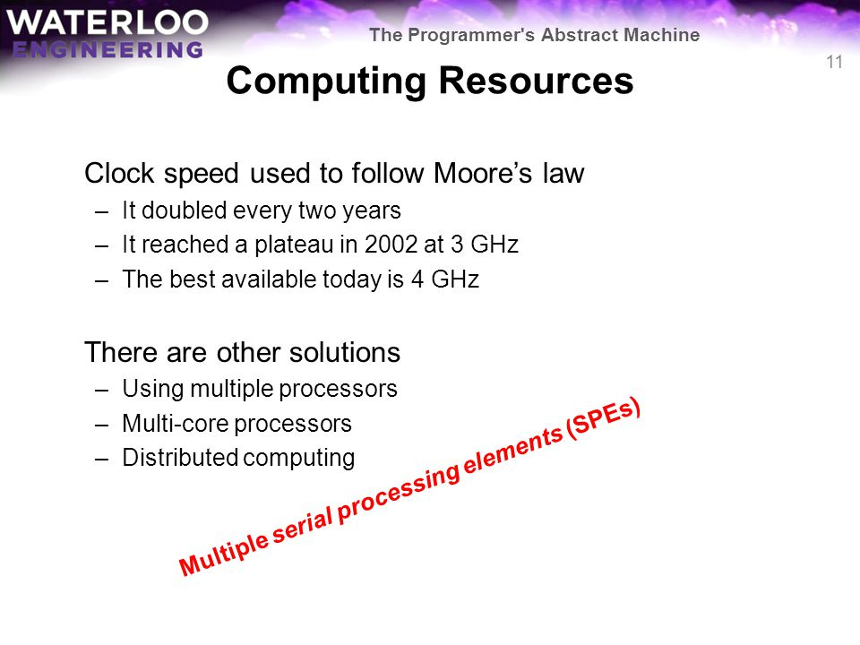 Computing Resources Clock speed used to follow Moore's law