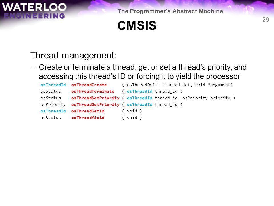CMSIS Thread management: