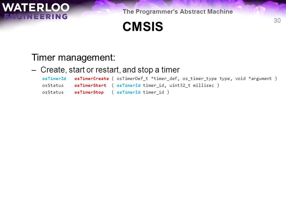 CMSIS Timer management: Create, start or restart, and stop a timer
