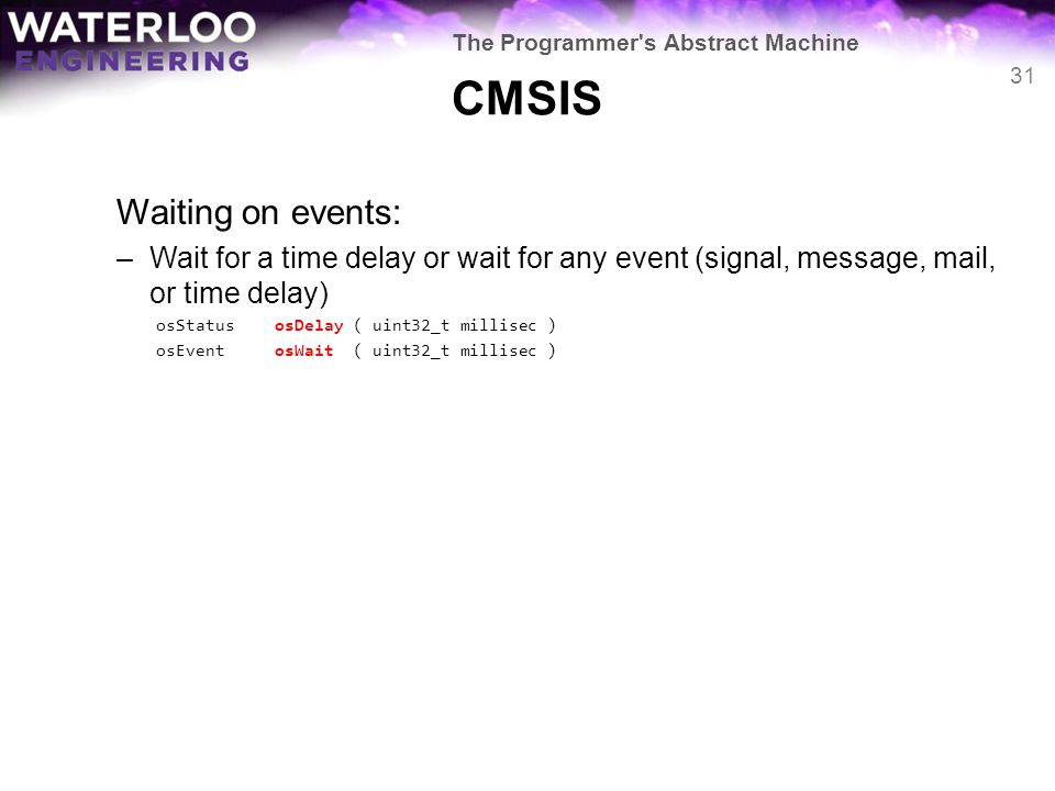CMSIS Waiting on events: